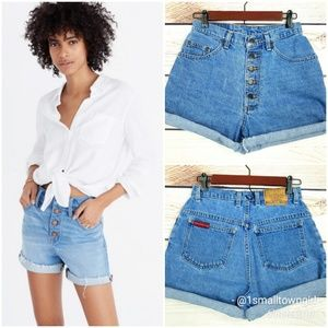 Vintage Exposed button fly jean shorts 7